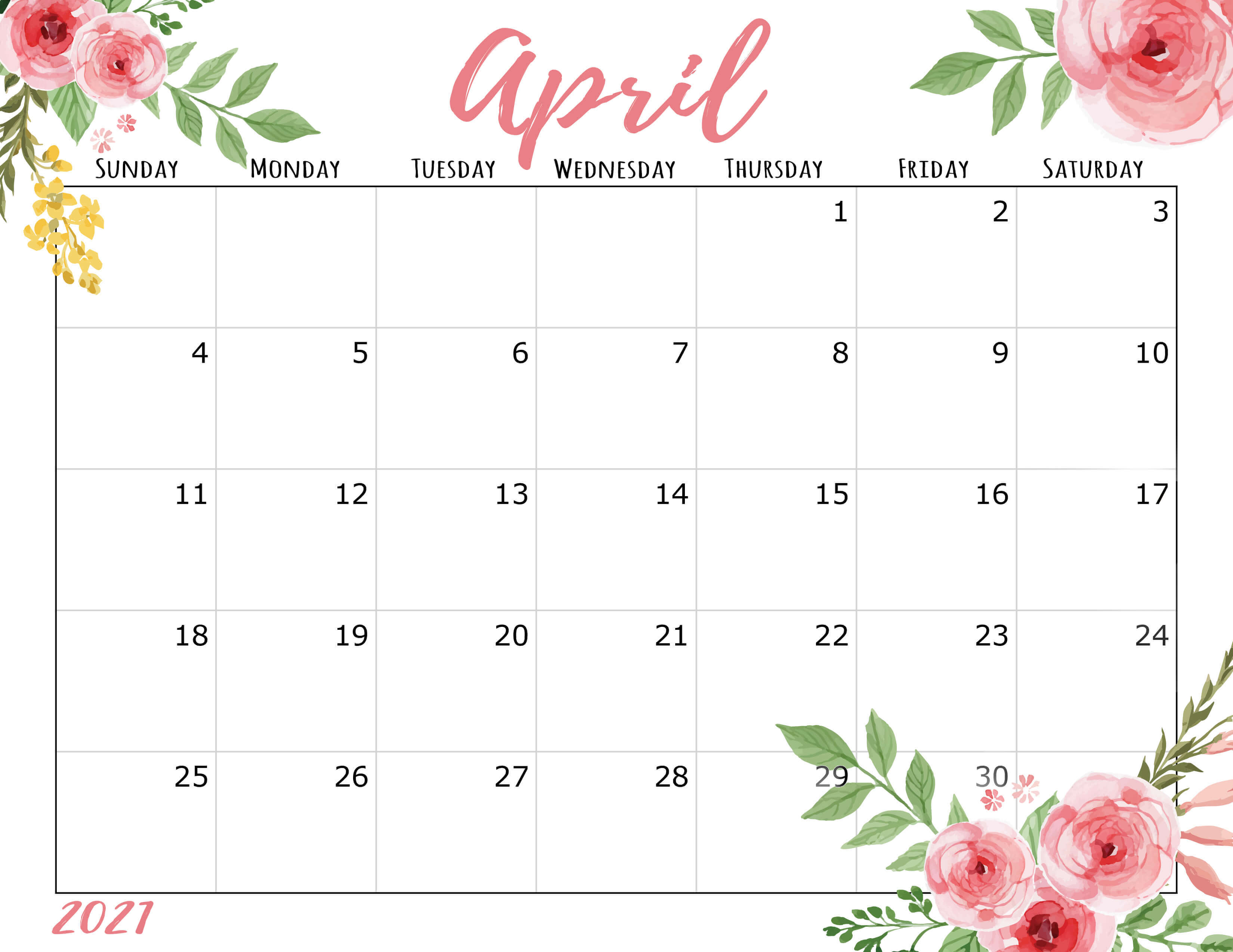 April 2021 Calendar Cute Please Note That Our 2021 Calendar Pages Are For Your Personal Use Only But You May Always Invite Your Friends To Visit Our Website So They May